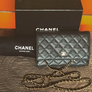 Authentic Chanel Quilted Caviar WOC